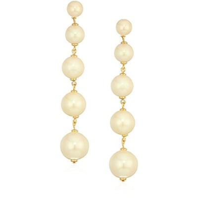 Kate Spade New York Womens Girls in Pearls Linearステートメントイヤリング One Size