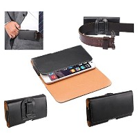 """DFV mobile - Case belt clip synthetic leather horizontal smooth for => ALCATEL PIXI 4 (4"""") > Black"""