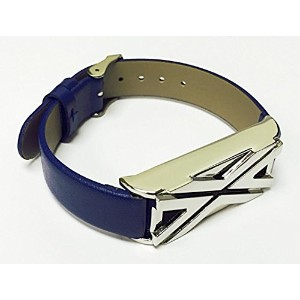 BSI New Blue Leather Replacement Bracelet With Unique Style Silver Metal Housing For Fitbit Flex...