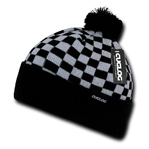 Decky K019-WHTBLK Changbai, Checker Beanie - White & Black