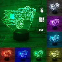 pry-ooo 3d IllusionsランプリモートコントロールLEDナイトライト装飾ライトMotocycleイメージ7 Colours変更Best Gifts For Kid And部屋&...