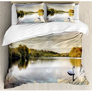 Cottageインテリア布団カバーセットby Ambesonne、Swans Resting on a lake forestでカバーThe Scottish Highlands、装飾寝具セットwit...