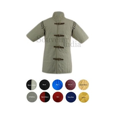 Medieval Gambeson thick padded half sleeve coat aketon jacket Armor Costume - off-white cotton...