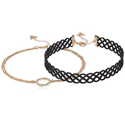 """Guess Womens図8Choker and Pave円ネックレスセット 13""""+2"""""""