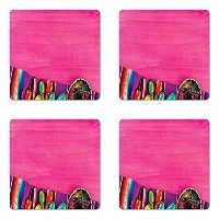 Mexican Coaster Set of Four by Ambesonne、ビューのFolkloric Serape Blanket Charroと音楽楽器文化要素、正方形ノンスリップラバーコー...