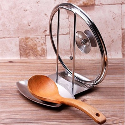 New Stainless Steel Pan Pot Cover Lid Rack Stand Spoon Holder Stove Organizer Storage Soup Spoon...