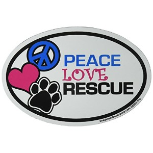 Imagine This Oval Peace Love Rescue Car Magnet, 6-Inch by 4-Inch by Imagine This