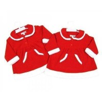 Fleece Christmas Dress with White Trim for Baby Girl 6-9 Months by Nursery Time