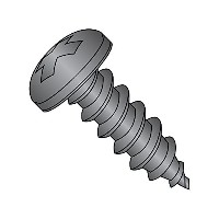 18-8 Stainless Steel Sheet Metal Screw, Black Oxide Finish, Pan Head, Phillips Drive, Type AB, #12...
