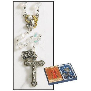 クリスタルビーズArchangel AngelロザリオSet with 2つトーンAngel Centerpieceと十字架with Dangle Medal Michael , Gabriel ,...