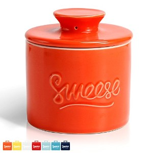 SWEESEバターKeeper Crock – Porcelain French Butter Dish オレンジ Butter keeper-orange