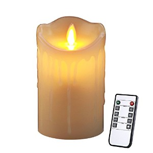 homemory 5インチ電池式ちらつきCandle withリモート、リアルなTear絞らタイマーFlameless Candle、アイボリーワックスElectric Pillar Candle...