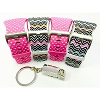 BSI Set 4 - 2pcs Pink with White Hearts and 2pcs Zigzag Rainbow Design Replacement Bands For...