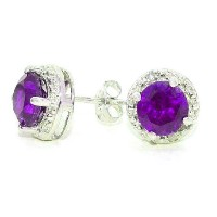 2 Ct Amethyst Round Diamond Stud Earrings .925 Sterling Silver Rhodium Finish