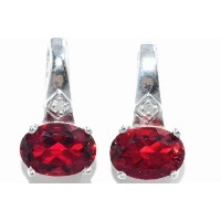 2 Ct Garnet Oval Diamond Stud Earrings .925 Sterling Silver Rhodium Finish