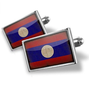 Cufflinks Laos Flag with a vintage look – Neonblond