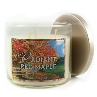 Bath & Body Works Candle 3Wick Plain蓋2015Edition Radiant Red Maple