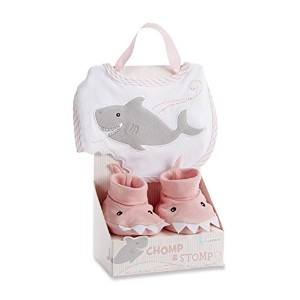 Baby Aspen Chomp and Stomp Shark Bib and Booties Gift Set, Pink by Baby Aspen