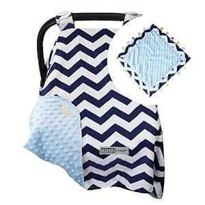 5 Colors **Free Blanket** Car Seat Canopy by CRAZZIE with Matching Soft TAGZ Blanket (Navy Zigzag...