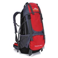 50+5L ハイキング キャンプ バックパック リュックサック 大容量 登山用 旅行 リュックザック 防水ナイロン レインカバー付き 応急処置用品 救急バッグ 多色 (レッド)