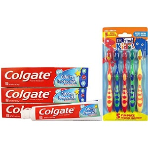 Colgate Toothpaste Kids Cavity Protection, 3 Pack, and Dr. Fresh Kids Toothbrushes Bundle by...