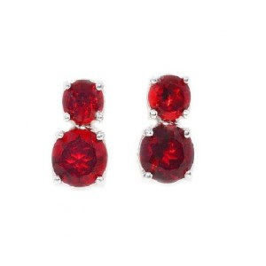 3 Ct Garnet Round Double Stud Earrings .925 Sterling Silver Rhodium Finish