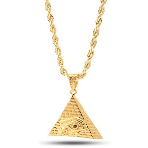 King IceゴールドメッキAll Seeing Eye Pyramidネックレス