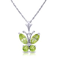 K14 White Gold Necklace with Peridot Butterfly Pendant