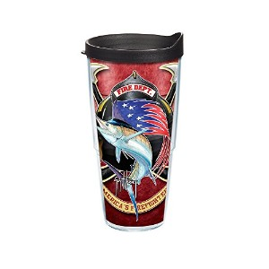 Tervis Guy Harvey Fire Dept。ラップTumbler withブラック蓋、24オンス、クリア