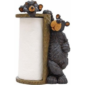 Willie Black Bear Paper Towel Holder Rack for Free Standing on Counter or Table (Great Kitchen...