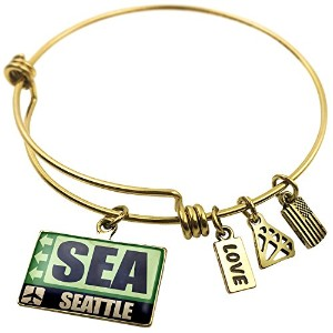 Expandable Wire Bangleブレスレット空港コードSea Seattle、NEONBLOND