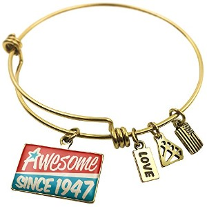 Expandable Wire BangleブレスレットAwesome Since 1947、誕生日/年、NEONBLOND