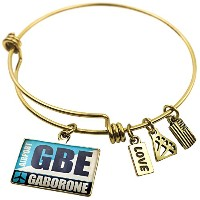 Expandable Wire Bangleブレスレット空港コードGBE Gaborone、NEONBLOND