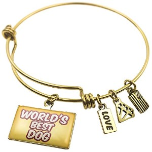 Expandable Wire Bangle braceletworlds Best犬Happy Sparkels、ブロンド