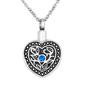 lovelycharms Flower Heart Urnネックレスfor灰ステンレススチール記念品Memorial Cremation