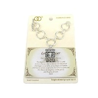Silvertone Lord 's Prayer Toggle Clasp Bracelet with祈りボックス