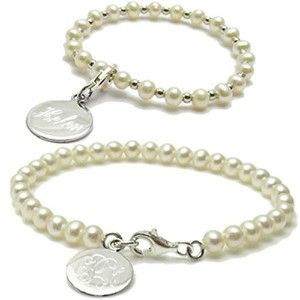 Silver Toned Babyまたは子Engraved Pearl Inspired Bracelet