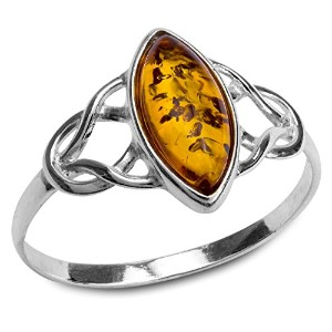 Amber Sterling Silver Celtic Trinity Knotリング