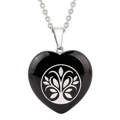 Amulet Tree of Life Magical Powers保護エネルギーブラック瑪瑙Puffy Heartペンダント22インチネックレス