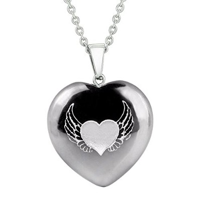 Amulet Angel Wings and Heart Love Powers保護エネルギーヘマタイトPuffy Heartペンダント22インチネックレス