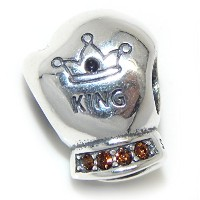 Proジュエリー925Solid Sterling Silver ' King ' Boxing Glove Withオレンジandレッドクリスタルチャームビーズ