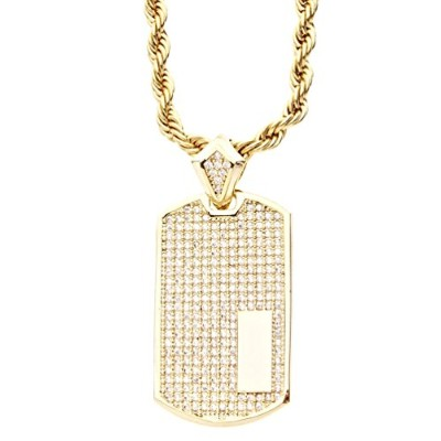 Iced Out Bling Micro Pave ペンダント - DOG TAG ゴールド