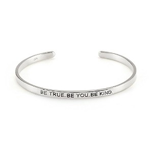 Be True Be You Be Kindシルバーメッセージブレスレット