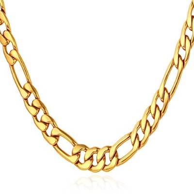 (24.0 inches, 5mm wide-18K Gold Plated Base Metal) - U7 Figaro Chain Link Necklace, Gold/Black...