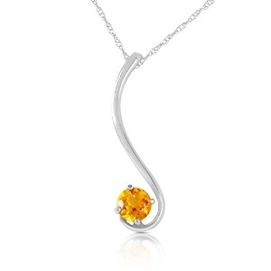 """K14 White Gold 18"""" Necklace with Natural Citrine"""