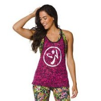 Zumba (ズンバ) Bi-Color Burnout Tank Berry (M) [並行輸入品]