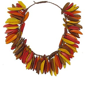 Les Poulettes Jewels–Tagua Neckletイエローオレンジ赤の炎