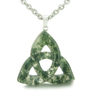 Celtic TriquetraノットMagic Amulet Green Moss Agate Good Luck Powersペンダント18インチネックレス