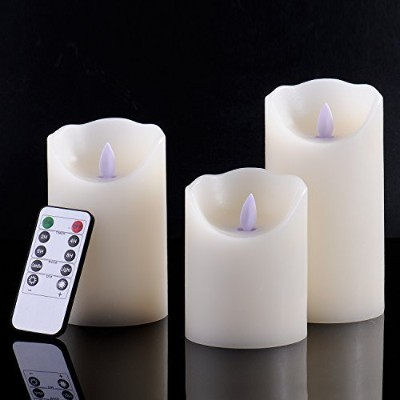 calm-lifeクラシックピラーReal Wax Flameless LED Candles withタイマー機能アイボリー色 Calm-life
