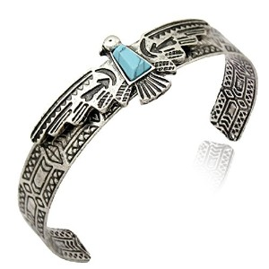 Native American Inspired CuffバングルアステカEagle、樹脂、ターコイズ、Navajo Look